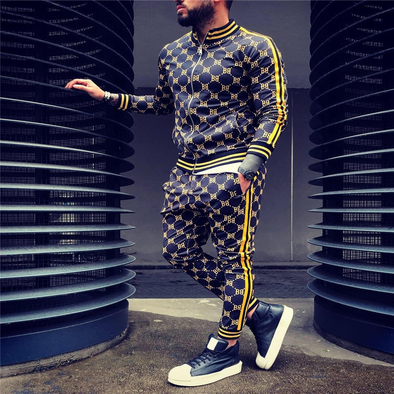 Men's Geometric Print Tracksuit 2 Pcs Set