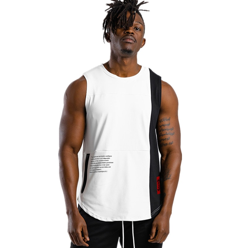 Men's Black / White Gym Tank Top