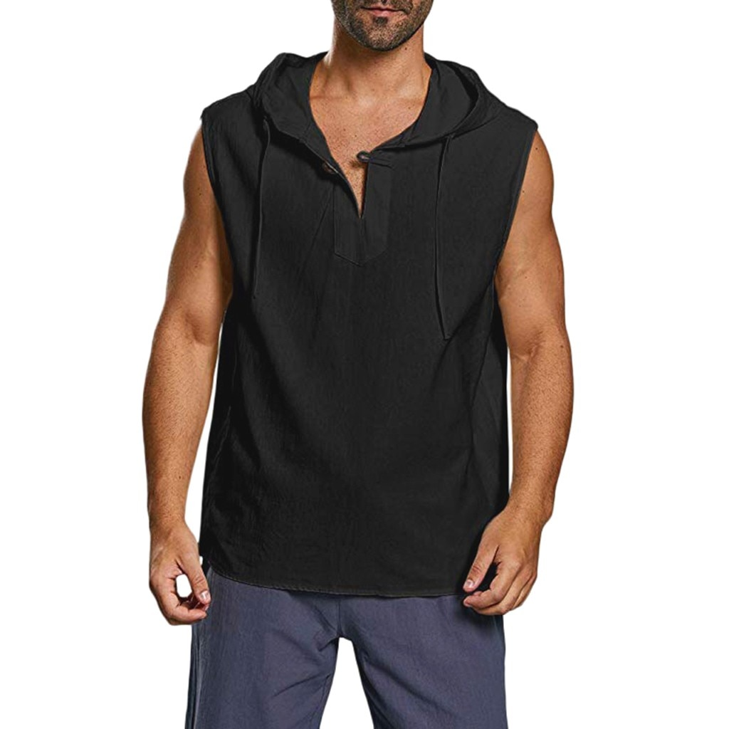 Men's Linen Button Sleeveless Hooded Tank Top