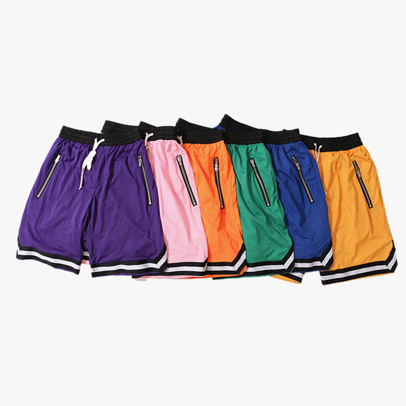 Men's Knee Length Mesh Baggy Shorts with Side Zippers